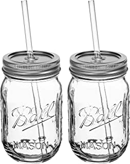 Ball RNWG-SIP-16OZ-2PK Novelt SIPPER SET a 16oz Mason Jar + Sippin' Lid + Acrylic Straw Reusable Novelty Cocktail Glasses Shabby Chic, 2 Pack, Clear