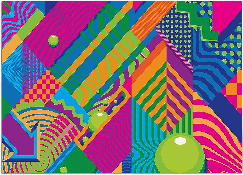 KESS InHouse RP1060ADM02 Roberlan The Fountain Pink Green Abstract Pop Art Dog Place Mat, 24  x 15
