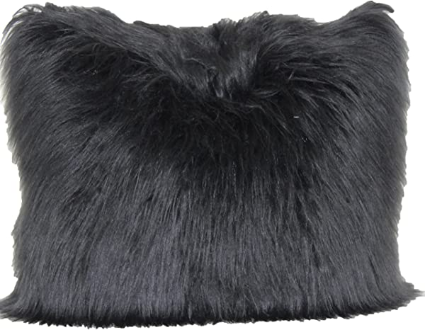 Brentwood Originals Angora Fur Decorative Pillow Black