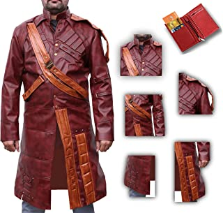 Leather Coats for Men - Swedish Bomber Leather Jacket Faux Fur Coat- Free Leather Wallet