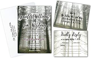 Wedding Invitations Personalized Woods Forest Set of 50 Double Sided Invite