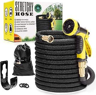 Expandable Garden Hose 100ft | Superior Lightweight Garden Hose | Never Kink Garden Hose 100 ft | Black Leak Proof Retract...