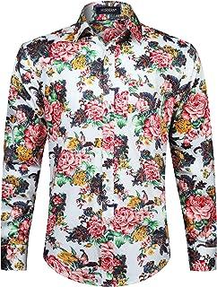 HISDERN Camisa Casual con Estampado Funky para Hombres Elegante diseño Floral Unico Algodón Regular Fit Camisas de Manga L...