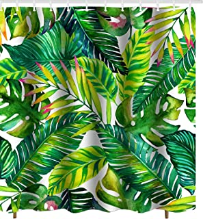 Get Orange Green Banana Brightness Leaves Decor Waterproof Fabric Polyester Shower Curtain Decor Set with Hooks 72X72 Inches