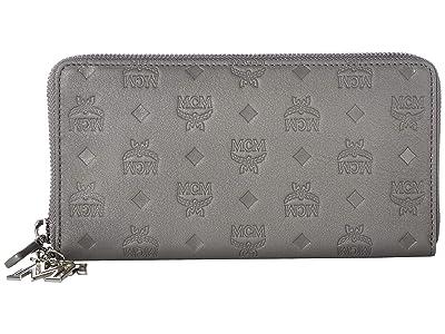 MCM Klara Monogrammed Leather Charm Zipped Wallet Large (Charcoal) Wallet Handbags