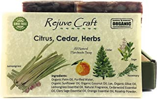 Citrus Cedar Soap. All Natural and Organic. Handmade in the USA. Relaxing & Refreshing, Anti-Aging