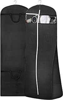 """MISSLO 70"""" Bridal Wedding Gown Dress Garment Bag with Accessories Pouch Large Travel Garment Cover 8"""" Gusset (Black)"""