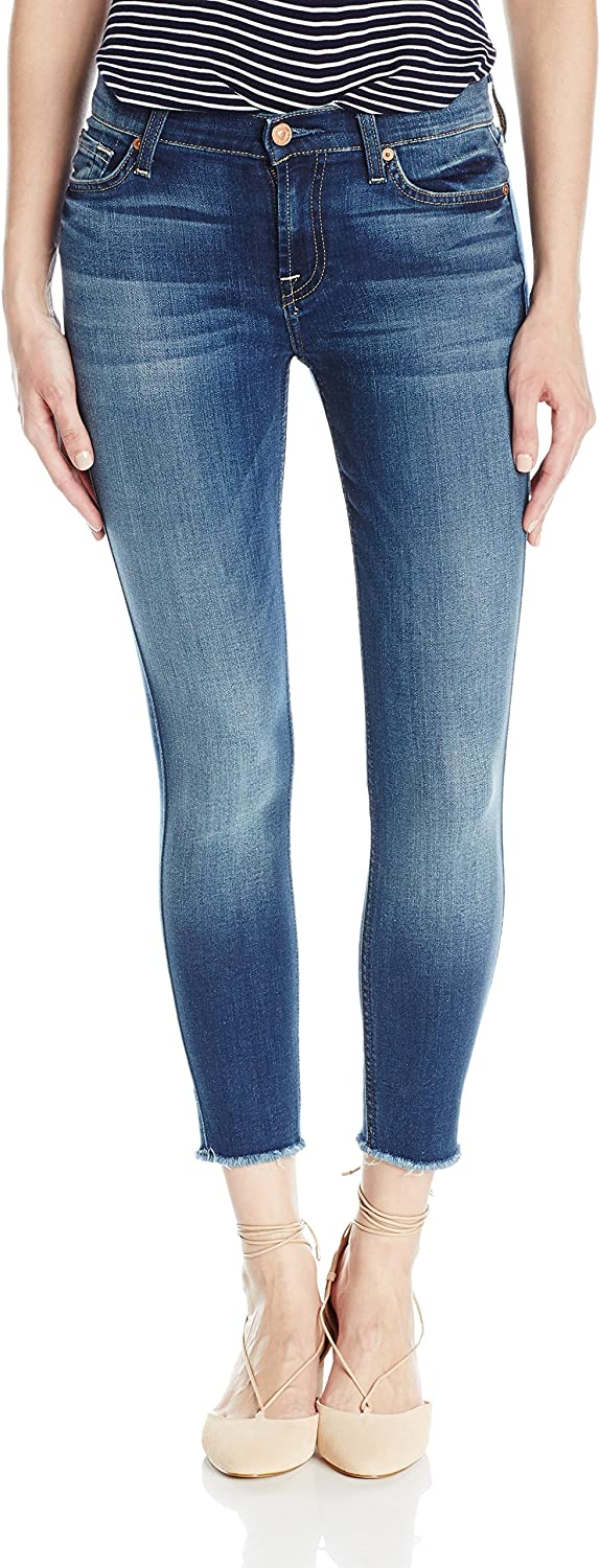 7 For All Mankind Womens The Ankle Skinny with Raw Hem Jeans