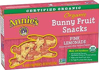 Annie's Organic Bunny Fruit Snacks Pink Lemonade, 5 Pouches, 0.8 oz Each