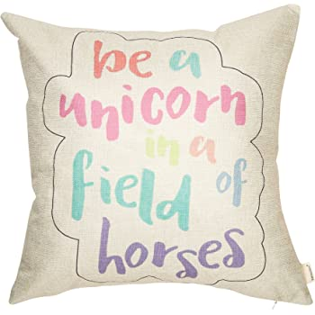 Fahrendom Pastel Nursery Décor Be a Unicorn in a Field of Horses Motivational Sign Inspirational Quote Decoration Cotton Linen Home Decorative Throw Pillow Case Cushion Cover for Sofa Couch 18 x 18 In