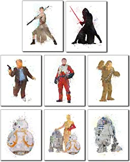 Star Wars Watercolor Wall Art Poster Prints - Set of 8 Photos - Rey Poe Han Solo Chewbacca BB8 R2D2 Kylo Ren and C3PO!