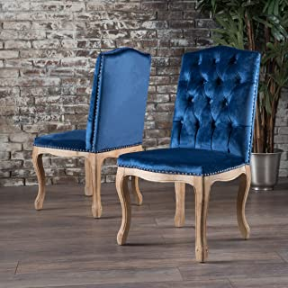 Great Deal Furniture Cello Navy Blue New Velvet Dining Chairs (Set of 2)