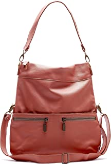 product image for Rust/Coral Italian Leather Large Convertible Foldover Crossbody