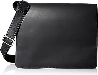 Leather Distressed Messenger Bag Harvard Collection, Black