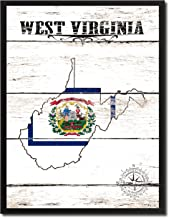 West Virginia State Vintage Flag Canvas Print Black Picture Frame Gift Ideas Home Decor Wall Art Decoration, 7