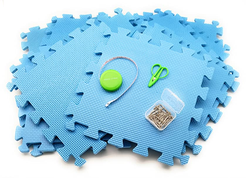 12 FOAM MATS BLOCKING KIT for Knitting or Crochet! WITH ESSENTIALS PACK: Tape Measure, 50 T-Pins & SuperSnips Mini Scissors!