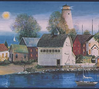 Sunset over Village on the Lake Lighthouse Boats Vintage Wide Nautical Wallpaper Border Retro Design, Roll 15' x 10.25''