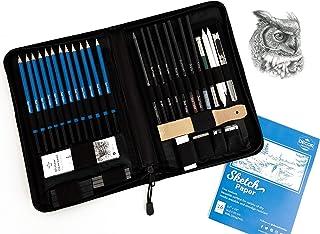 کیت طراحی حرفه ای توسط Decor Frontier - مجموعه کامل مدادهای طراحیی شامل مدادهای گرافیتی ، طرح اسکچ پد رایگان و کلیه وسایل ضروری رسم و مدادهای نقاشی برای هنرمندان   کیت 40 تکه