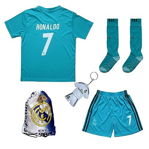 1f75f1fc232 GamesDur 2018 2019 Ronaldo  7 Third Black Soccer Kids Jersey   Short   Sock