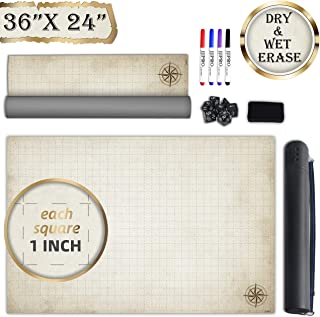 """Battle Grid Game Mat - 24""""x36"""" Vinyl Game Mat - Table Top Role Playing Map - Reusable RPG Dungeons and Dragons (DND) Game Map - Portable Plastic Storage Tube and Markers, Eraser, Dice Set Included"""