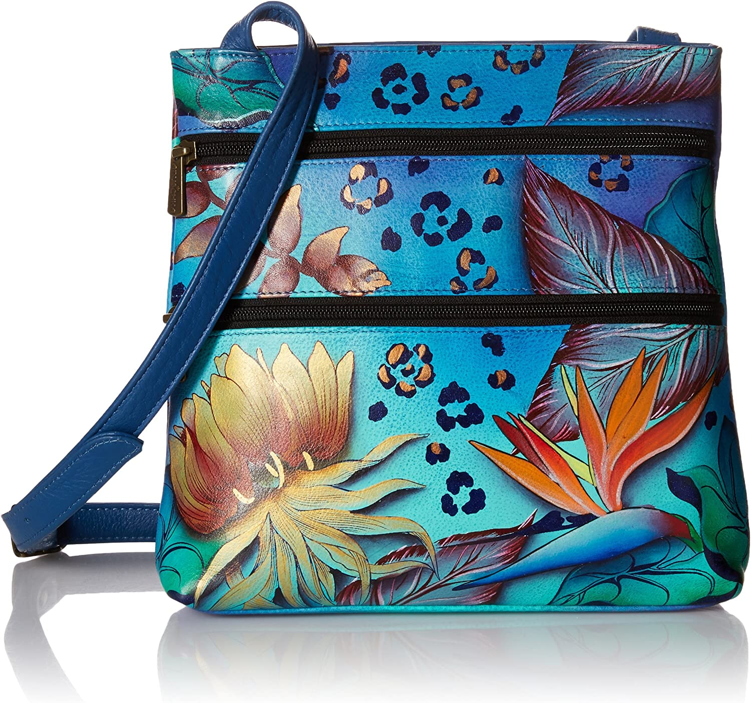 Anuschka Handpainted Leather Small Double Zip Travel Crossbody, Tropical Dream, One Size