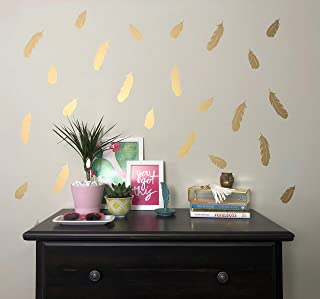 Better Than Paint Gold Metallic Feathers   52 Wall Art Transfers   Fast & Easy