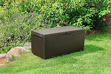 Keter Springwood 80 Gallon Resin Outdoor Storage Box for Patio Furniture Cushions & DC America 18-Inch Cast Stone Umbrell
