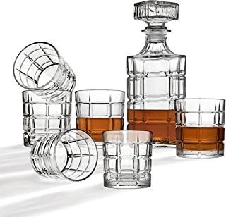 Whiskey Decanter And Glasses Bar Set, Includes Whisky Decanter And 6 Cocktail Glasses - 7 Piece Set