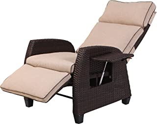 Grand Patio Indoor & Outdoor Recliner with All-Weather Wicker, Beige Cushion and Integrated Side Table, Mocha Brown