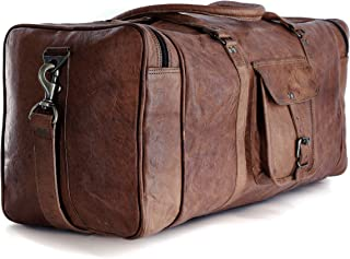 Komal's Passion Leather Leather Duffel Bag Large 24 Inch Square Duffel Travel Gym Sports Overnight Weekender Leather Bag f...