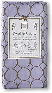 SwaddleDesigns Marquisette Swaddling Blanket, Premium Cotton Muslin, Mocha Mod Circles on Lavender