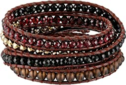 Chan Luu - Sterling Silver 5 Wrap Bracelet on Leather with Semi Precious Stones and Crystals