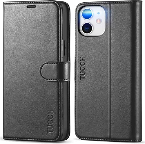 TUCCH Wallet Case for iPhone 12 Pro/iPhone 12 5G, RFID Blocking Card Slot Stand [Shockproof TPU Interior Case] PU Lea...