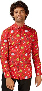 OppoSuits Men's Christmas Fitted Button-up Shirt with Long Sleeves