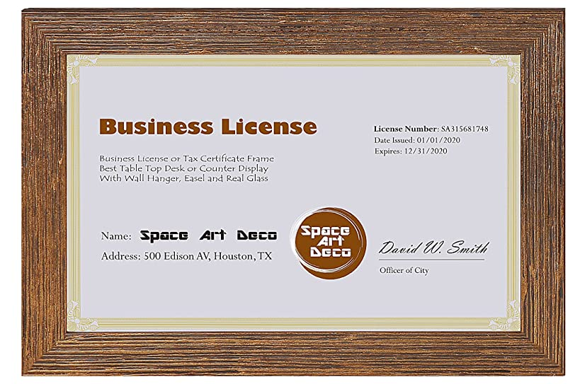 Space Art Deco 5.5x8.5 Gold Textured Frame - for Professional/Business License and Certificate - Self Standing - Desk/Table or Wall - Real Glass (Gold - Single)