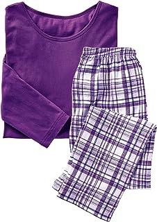 AmeriMark Pajama Sets Women Cotton Knit Top Plaid/Holiday Flannel Lounge Pants