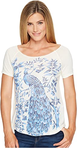 Lucky Brand Shaded Peacock Graphic Tee