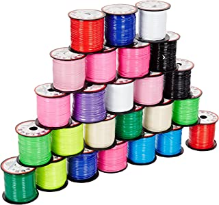 Pepperell Braiding Vinyl Flat Lacing - 100 yard x 3/32 inches Spools - Set of 25 - Assorted Colors