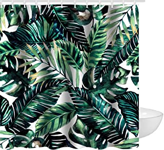 Ao blare Tropical palm leaves printed polyester mouldproof waterproof shower curtain 72 x 72 Inch
