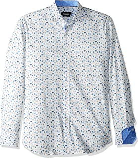 Men's Fitted Long Sleeve Faces Printed Cotton Woven Shirt