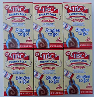 IBC Cherry Cola - Singles to Go! - Bundle of 6 Packages Flavored Drink Mix - 6 Sticks per Package