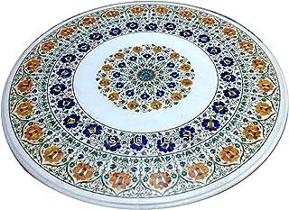 36 pulgadas de mármol redondo pasillo mesa de comedor blanco multi piedras preciosas incrustadas