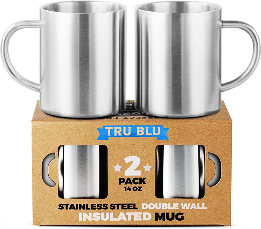 Coffee Mug 14oz Insulated Set Of 2 Shatterproof Healthy BPA Free Stainless Steel Dishwasher Safe