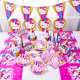 90pcs Set KITTY Theme Party Disposable Tableware Set Decoration Supplies Christmas Table Cloth Set for Kids Favor Birthday...