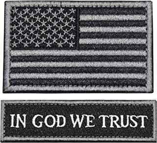 Tactical Morale Patch USA Flag Embroidered American Flag Patch Hook&Loop Fastener Backing Emblem in GOD WE Trust Tactical Patch(PUF-BSG+INGOD-BLK)
