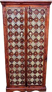 Marrakesch Kajal - Armario de Madera Maciza para Pasillo, Dormitorio, salón o baño, 180 cm de Alto, Estilo marroquí