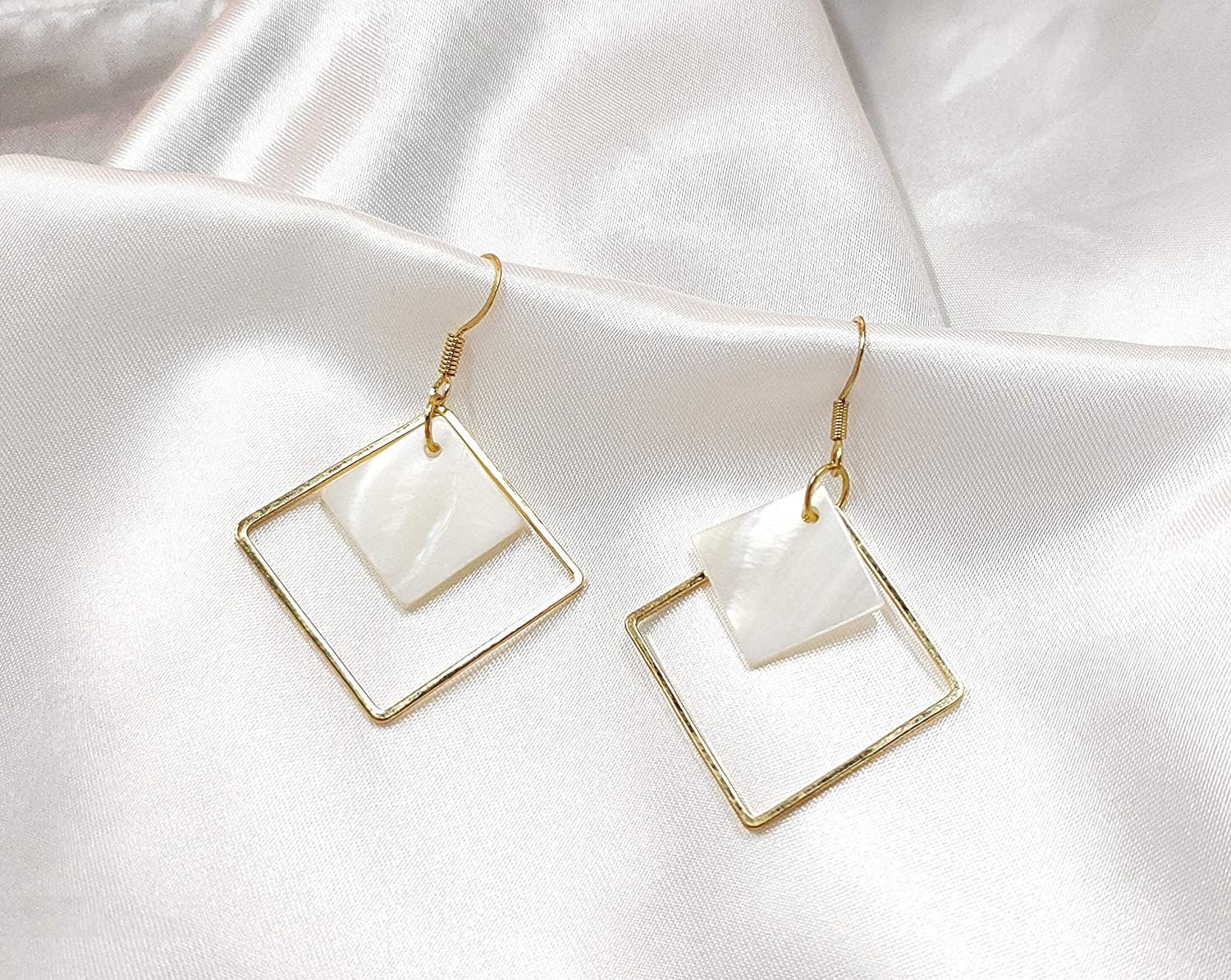 14k Gold Plated Square White Shell Drop Earrings La Raffine For Women Jewelry Wedding Geometric Earrings for Women Girl Gifts Present Valentines Birthday Anniversary Mothers Day Christmas(Golden)