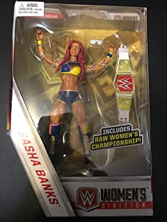 WWE Elite Collection Sasha Banks Action Figure with Raw Women's Championship Belt