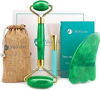 Original Jade Roller and Gua Sha Set - Jade Roller for Face - Face Roller: 100% Real Natural Jade - Face Massager, Facial ...