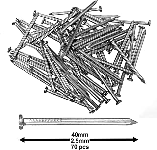 """Pack of 70 Hardened Ribbed Steel Masonry Nails 2.5x40mm (1x1""""-9/16"""") for Brick, Blocks, Skirting Boards, Battens and All Other Masonry"""
